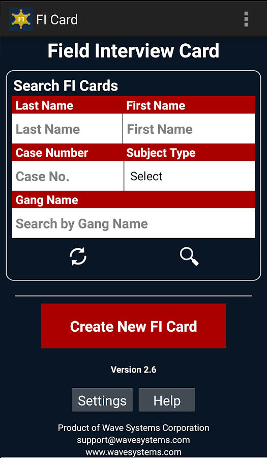 Police Field Interview FI Card- screenshot