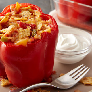 Cheesy Southwest Chicken Stuffed Red Peppers.