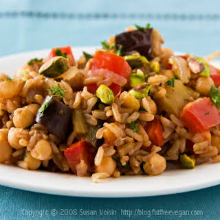 Turkish Pilaf with Pistachios and Chickpeas.