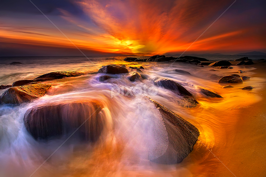 Golden light at Stone beach by Dany Fachry - Landscapes Beaches