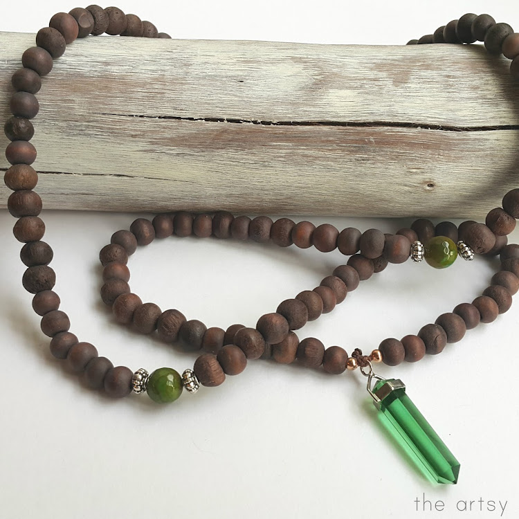 Green Obsidian Sono Bead Mala - Long Necklace by The Artsy Craftsy