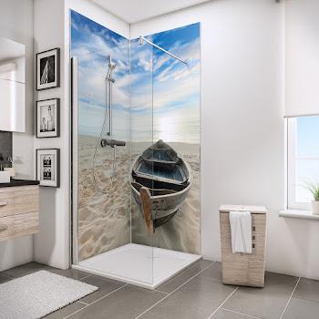 Foto über Eck - Ruderboot am Strand über Eck (639)