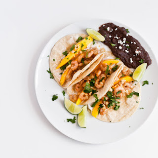 Spiced Mango Shrimp Tacos with Refried Black Beans