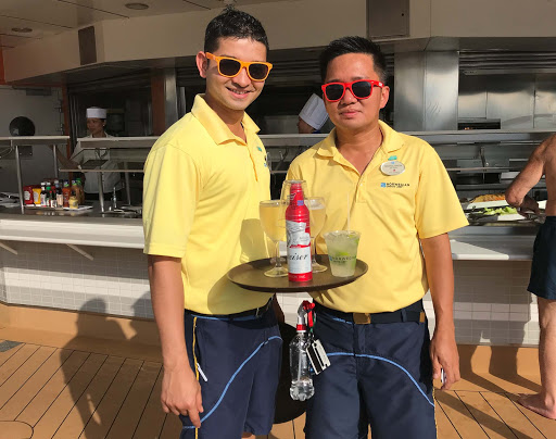 Bar-waiters-on-Norwegian-Jade.jpg -  Suraj Thakur and Michael Sazow, bar waiters on Norwegian Jade.
