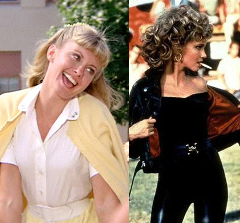 Split photo image from the movie Grease depicting Sandy requiring two characters to be both desired and respected