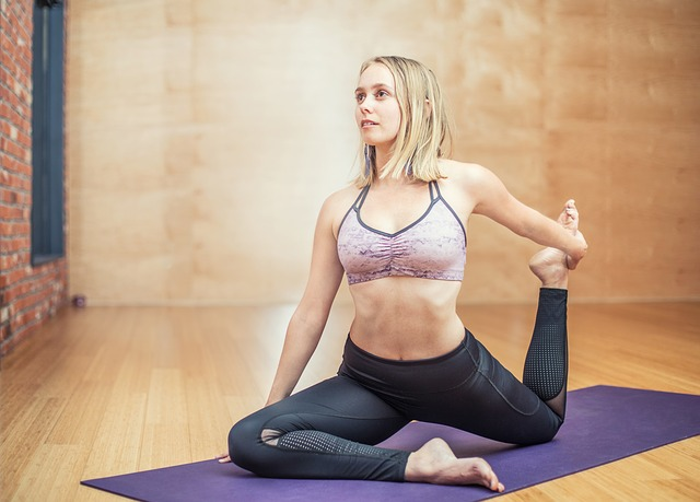 woman doing yoga strech
