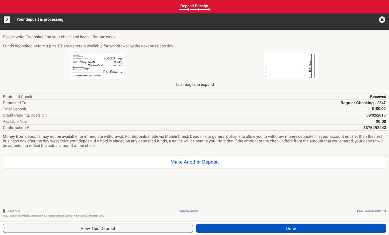 Bank of America- screenshot