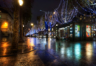 Photo: The streets of France... little tendrils of light dance and skip through the streets like starlight, threaded together to cover the cloak of night...  BTW, I'm taking a train to the Google offices in Zurich today... I'll try to do a live Google+ Hangout from there around 4:30 PM Zurich time. I heard they have internet in their offices.