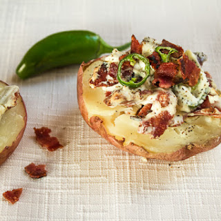 Baked Potatoes stuffed with Bacon & Jalapenos.