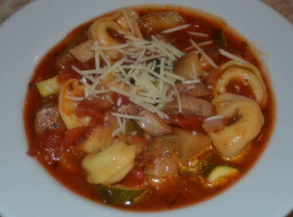Rustic Eggplant, Sausage And Tortellini Soup Recipe