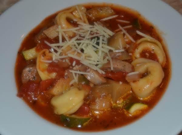 Rustic Eggplant, Sausage And Tortellini Soup Recipe
