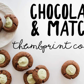 Chocolate Thumbprint Cookies with Matcha Cream Filling
