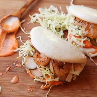 Steamed Buns With Grilled Shrimp and Sriracha Mayonnaise