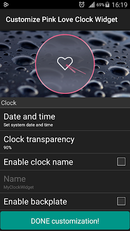 Pink Love Clock Widget 5.5.1 screenshot 1568925