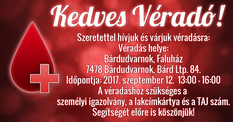 Véradás Bárdudvarnok Faluházban 2017. szeptember 12