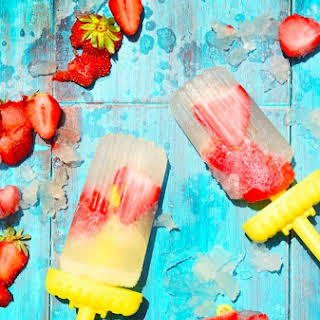 Prosecco Pops with Fresh Strawberries.