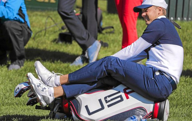 UPBEAT: ordan Spieth looks self-assured as he chills during practice ahead of the Ryder Cup that starts on Friday. Picture: EPA