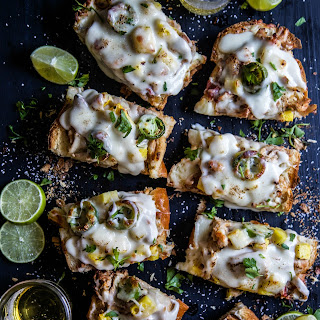Pineapple Chicken French Breads with Rum Cheese Sauce.