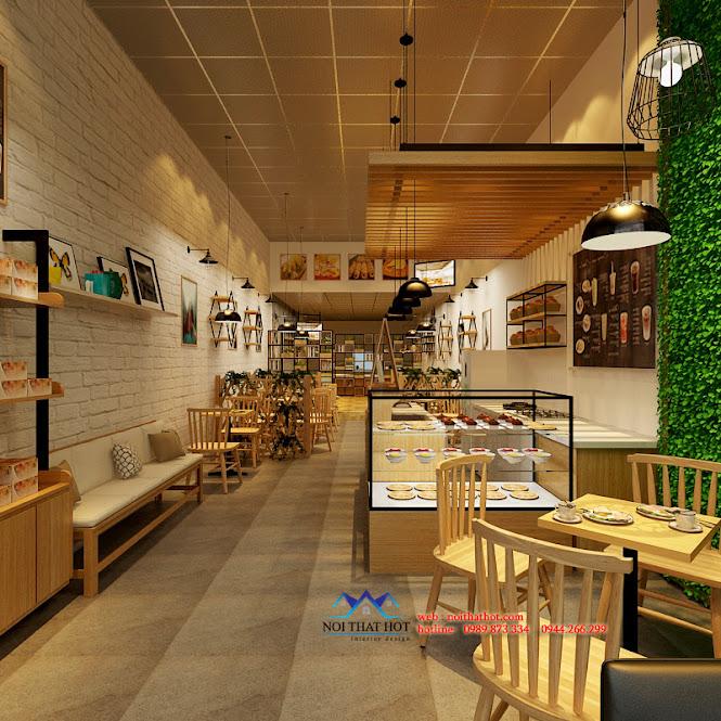 thiết kế cửa hàng ăn nhanh kết hợp quán cafe