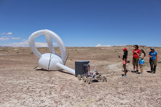 Photo: The Cornell Mars Rover fills the inflatable structure during the Equipment Servicing Task