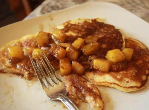 "My Daddy's Pancakes with Pineapple Syrup""We love these pancakes. They are different..."