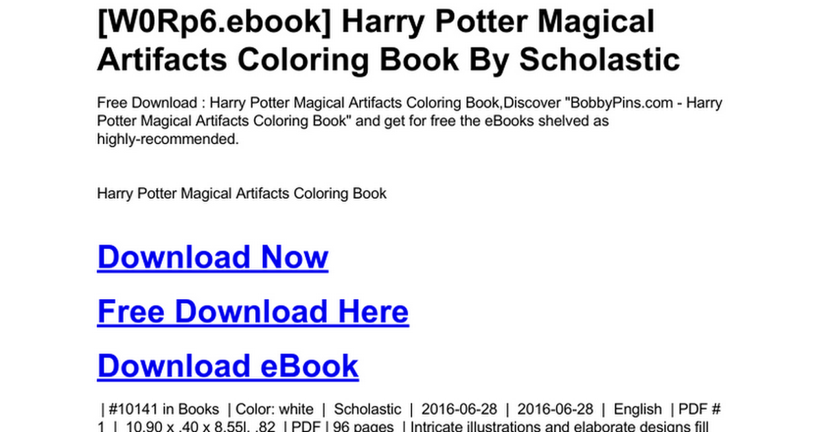 Harry Potter Magical Artifacts Coloring Book Doc Google Drive