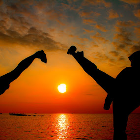 High Kick's by Hendra Sulistyawan - Landscapes Sunsets & Sunrises ( karate high kick landscape )