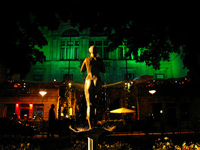 Photo: statue in the park in front of a nightclub