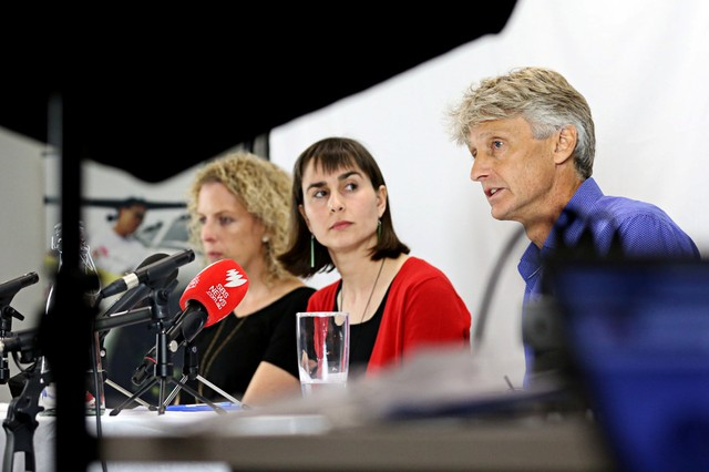 Dr Christine Ruffler, Dr Dr Beth O'Connor and Dr Paul McPhun from Medecins Sans Frontieres (Doctors Without Borders) address the media in Sydney, Australia, October 11, 2018.
