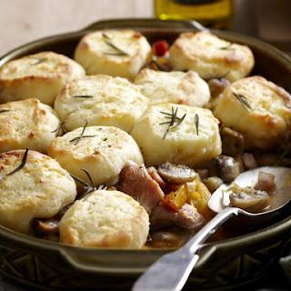 Chicken and Leek Casserole with Potato Dumplings.
