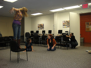 """Photo: Graduate Candidates in Conflict Resolution through Theatre Course """"rehearse"""" workshops that will be facilitated with residents from HelpUSA."""