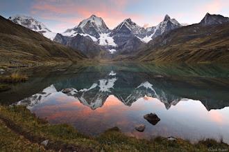 Photo: Sunset at the spectacular Laguna Carhuacocha. The three center peaks, from left to right, are Yerupaja (Peru's second highest peak at 6617m or 21,709 ft.), Yerupaja Chico (6089m), and Jirishanca (6094m).