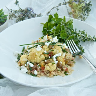 Roasted Cauliflower And Couscous With Tomatoes, Olive Oil, Lemon And Garlic