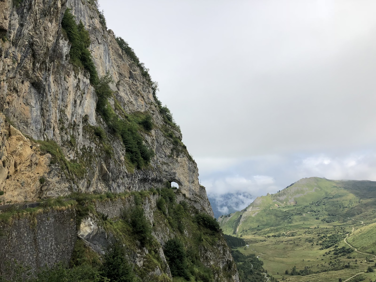 cycling Col d'Aubisque  from Argeles Gazost - photo of sheer cliff, ravine and tunnel