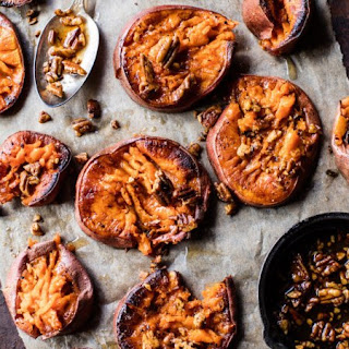 Smashed Sweet Potatoes with Bourbon Maple Butter.