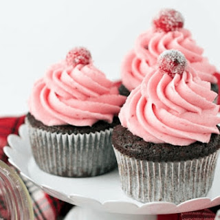 Gingerbread Cupcakes with Cranberry Buttercream Frosting.