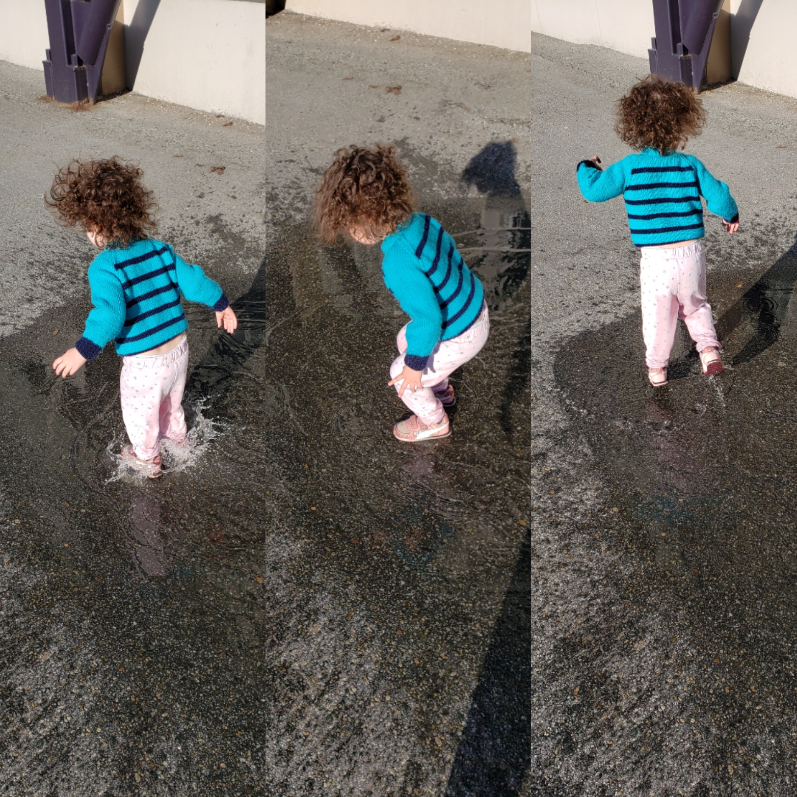 Three vertical images of a toddler in a blue sweater jumping in a mud puddle.