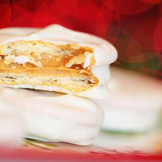 Candy Dipped Peanut Butter Stuffed Ritz Sandwiches.