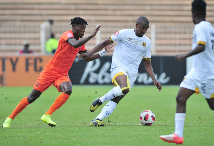 Lehlogonolo Masalesa of Black Leopards and Salulani Phiri of Polokwane City during the Absa Premiership match between Polokwane City and Black Leopards at Old Peter Mokaba Stadium on April 07, 2019 in Polokwane, South Africa.