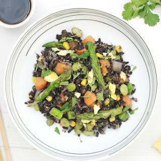 Egg Fried Black Rice With Asparagus & Edaname.