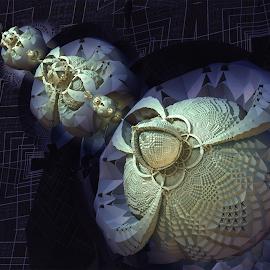 Nightmare by Glenda Popielarski - Illustration Abstract & Patterns ( m3d, blue, abstract art, fractal art, digital art, mandelbulb 3d, raw fractal, mb3d, fractals, black )