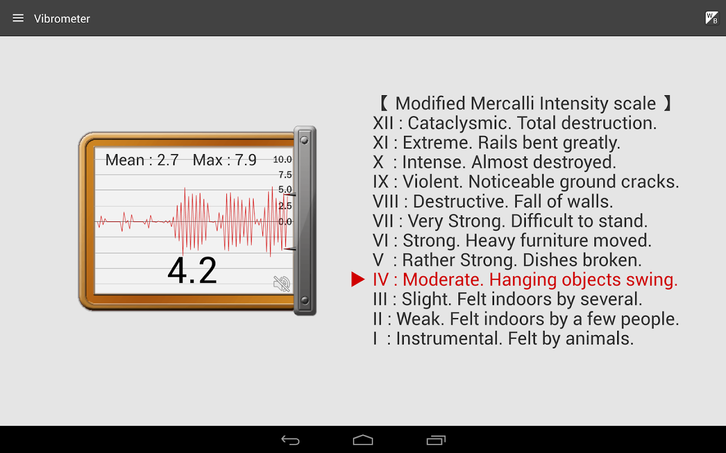 Vibration Meter- screenshot