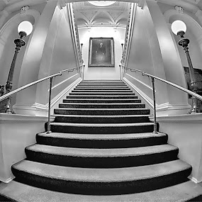 Come On Up by Al Duke - Black & White Buildings & Architecture ( stairs, osgoode, toronto )