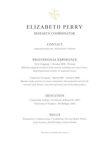 Elizabeth J. Perry - Resume Template