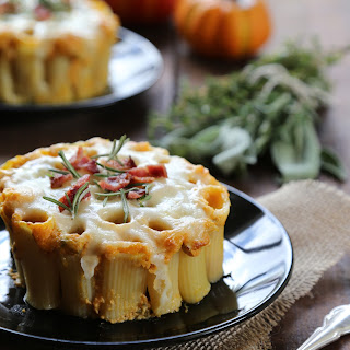 Mini Pumpkin Pasta Bake with Crispy Bacon and Fresh Herbs