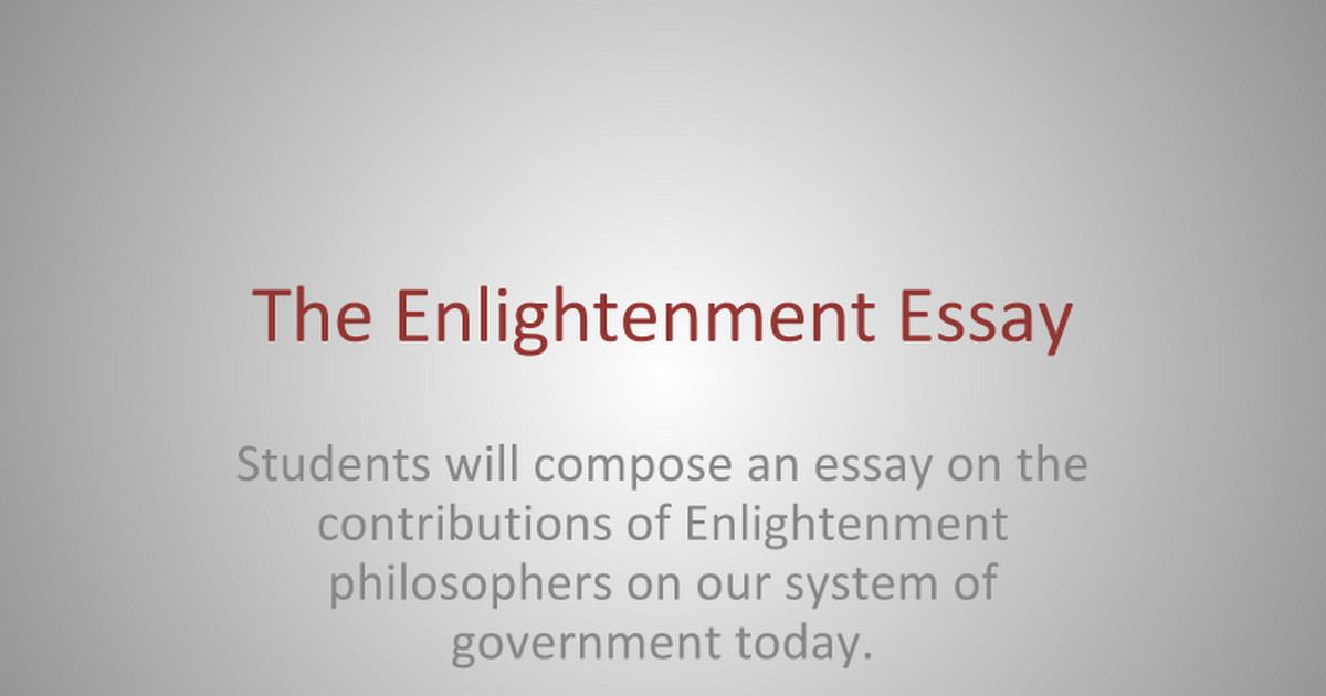 the enlightenment essay google slides