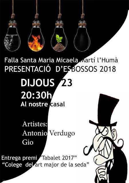 """Presentación Bocetos 2018 y entrega """"Premi Tabalet 2017"""" en Santa María Micaela"""
