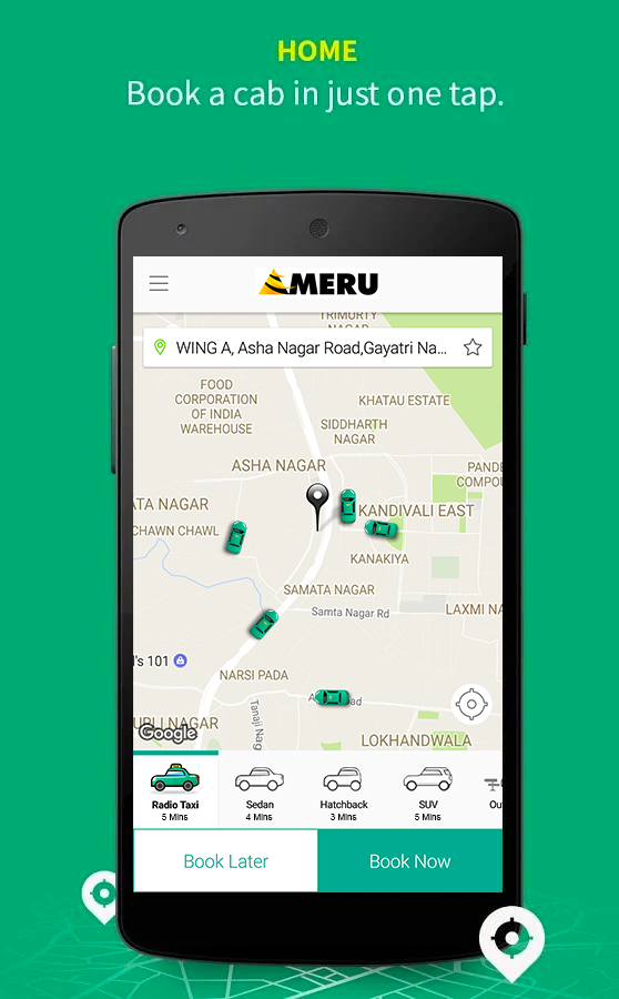 Meru Cabs- screenshot
