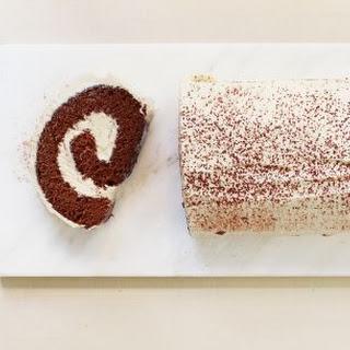 Eggnog-Chocolate Cake Roll