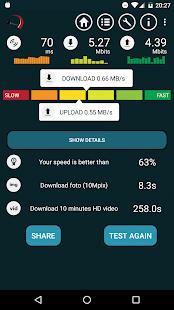 Test připojení od Meter.net - náhled